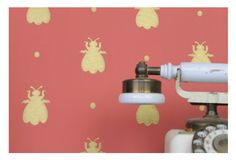 Farrow and Ball - Bubble Bee wallpaper Powder Room, Wall Lights, Bubbles, Bee, Wallpaper, Designers, Home Decor, Appliques, Honey Bees
