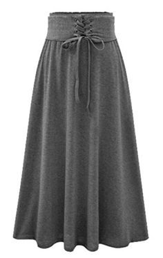 Cromoncent Womens Pure Color Basic Drawstring Pleated Cotton Midi Skirt Dark Gray L -- Amazon most trusted e-retailer