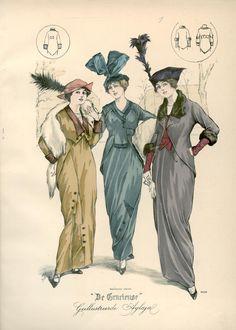 [De Gracieuse] No. 1. Tailleurkostuum van effen fluweel. No. 2. Tailleurkostuum van fijne zibeline-laken. No. 3. Tailleurkostuum van ottoman (January 1914)