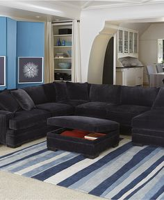 Teddy Fabric Sectional Living Room Furniture Collection - Shop All Living Room - Furniture - Macy's Fabric Sectional, Sectional Furniture, Living Room Sectional, Sectional Sofa, Living Room Furniture, Living Room Decor, Black Sectional, Living Area, Living Rooms