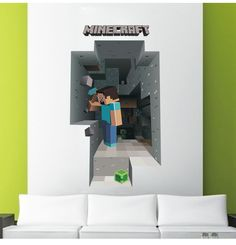 Minecraft Wall Art Creates A Portal To Mine More Gold To name a franchise that has equaled the appeal of MINECRAFT to such a broad age range from elementary-age children to adults that wouldn't otherwise . Removable Wall Decals, Wall Decal Sticker, Kids Stickers, Wall Stickers, Minecraft Wall, Minecraft Birthday Party, 3d Wall Art, Kids Bedroom, Home Crafts