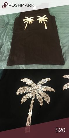 PINK tank Sequin palm trees, received on mail order and did not come with tag. Never worn or washed. PINK Victoria's Secret Tops Tank Tops