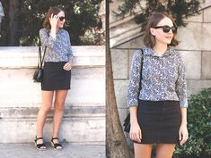 Ray Ban Sunglasses, J. Crew Shirt, American Apparel Skirt, A.P.C. Wedges, Reed Krakoff Bag