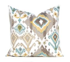 """SALE One indoor ikat print pillow covers, cushion, decorative throw pillow, Orange pillow, 12"""", 14"""", 16"""", 18"""", 20"""", 22"""" covers, Grey pillow by ThatDutchGirlPillows on Etsy"""