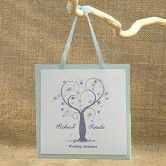 Winter Crystals Tree - Hanging Pocket Wedding Invitation