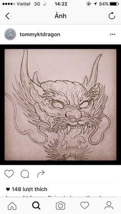 Dragon Tattoo Colour, Dragon Head Tattoo, Dragon Sleeve Tattoos, Japanese Dragon Tattoos, Japanese Tattoo Art, Asian Tattoos, Arabic Tattoos, Japan Tattoo, Desenho Tattoo