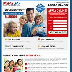 super fast payday loan creative lead capture squeeze page design Payday Loan example