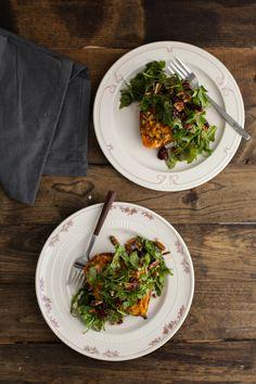 Twice Baked Blue Cheese and Quinoa Sweet Potato with Maple-Mustard Arugula Salad