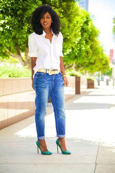 Now that's how to wear a Boyfriend Shirt + Boyfriend Jeans