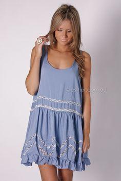 segura lace detail dress - blue