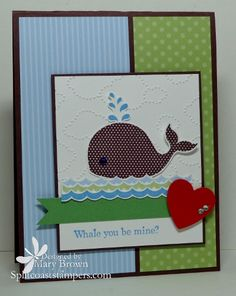 Whale of a Good Time--Stamps: Oh Whale    Paper: Whisper White, Chocolate Chip, Real Red, Wild Wasabi, Subtles Paper Pack    Ink: Chocolate Chip, Marina Mist, Bashful Blue, Certainly Celery    Accessories: 3 Heart Punch (retired), Clouds Embossing Folder, Dimensionals, Basic Rhinestone