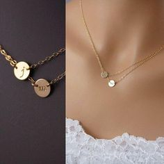 Two Initials Necklace - Personalized Necklace - Two Charms Disc Necklace - Gold Filled Initial Necklace Initial Necklace Gold, Disc Necklace, Layered Necklace, Necklace With Initials, Necklace With Name, Necklace With Kids Names, Pearl Necklace, Double Layer Necklace, Monogram Bracelet