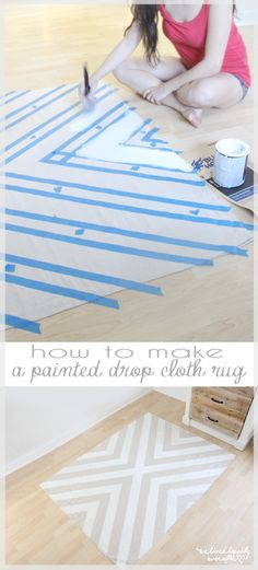 How to Paint a Drop Cloth Rug
