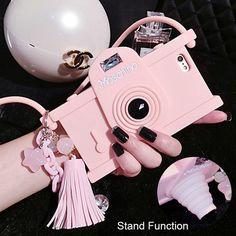 """Adorável 3D Camera macio TPU Silicone para o iPhone 6 6 S 4.7 """" e 5.5 """" suporte função capa protetora"""
