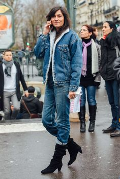 March 4, 2017 Paris, Jeans, Emmanuelle Alt, Denim, Boots, Levi's, FW17 Women's