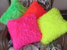 Neon Colors Hand Knitted Pillows by SavoirMare on Etsy, $19.99