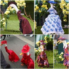 Unconventional fashion show, look at the ducks in dress