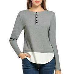 Meaneor Women's Sweater Fake Two-Piece Knitt Splicing Casual Sweatshirt Fashion Henley Long-Sleeve Blouse, Grey, Small * Check out this great image @