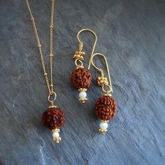 rudraksha tears of compassion pearl gold necklace earring set