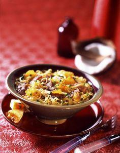 Curry de porc aux nouilles asiatiques