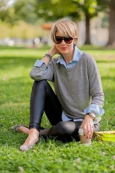 leather leggings / grey sweater / sky blue collared shirt
