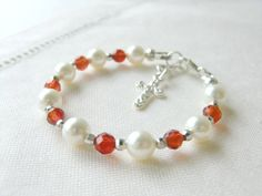 Girls and Baby Bracelet for Christening, Baptism or Communion. A perfect Gift for baby girls, flower girls, blessings, shower gift, baptism, Christmas and birthday.