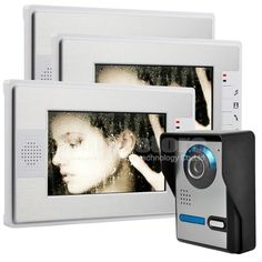 "DIYSECUR New 7"" Video Door Phone Video Intercom Kit Compatible With E-lock Night Vision 1 Camera + 3 Monitor"