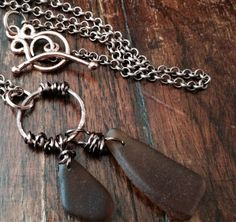 Copper antiqued copper recycled beach sea by JewelryBySukiepie, $39.99