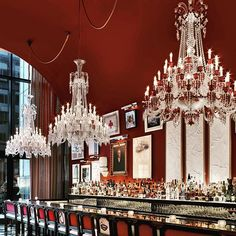"""Sending a special thank you to our chers amis @cntraveler for naming The Bar as one of The Best Bars in NYC. It is always our pleasure to host all of you. _______ """"The sexy bar at the Baccarat with its mix of traditional crystal chandeliers and bohemian salon wall painted in dark red manages to strike that perfect balance between polished and sexy."""" @pilar_guzman #TravelerInNewYork"""