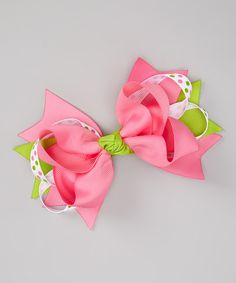 Take a look at this Pink & Green Polka Dot Bow Clip on zulily today!