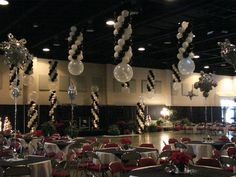 Holiday Party Ceiling Balloons Balloon Ceiling, Balloon Columns, Ceiling Decor, Ceiling Lights, Quinceanera Decorations, Balloon Decorations, Balloon Ideas, Hanging Balloons, Balloon Company