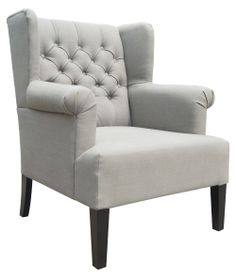 Moe's Home Collection Vera Linen Mix Club Chair - Gray - Accent Chairs at Hayneedle