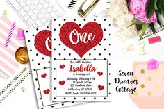Sweetheart Glitter Hearts Birthday Printable Invitation - Valentine Glitter Heart Invitation - 4x6 / RUSH - Within 24 Business Hours