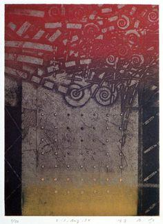 E-2.Apr.94 24.3x17.8cm copperplate print (etching) with chine collé 林孝彦 HAYASHI Takahiko 1994