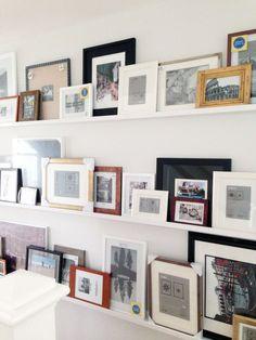 "HGTV's Jasmine Roth Has An Awesome Alternative To The Basic Gallery Wall She's making ""gallery shelves"" happen. Picture Shelves, Wall Shelves, Frame Shelf, Display Shelves, Shelving, Photo Ledge, Picture Ledge, Picture Walls, Photo Walls"