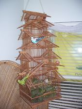 Decorative Large Vintage Bamboo Pagoda Bird Cage Multi Tiers 14