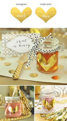 Personalized Gold Heart Stickers are great for decorating favor boxes, jars, bag and more! by Mod Party