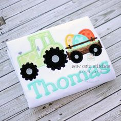 Boys Embroidered Tractor Hauling Eggs Shirt - Boys Easter Tractor Shirt wih Eggs - Applique Easter Shirt of Bodysuit by BentleyBelle on Etsy https://www.etsy.com/listing/219191544/boys-embroidered-tractor-hauling-eggs