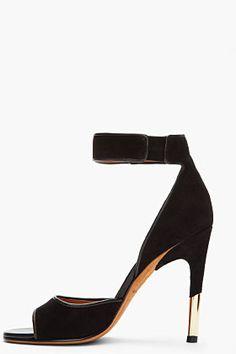 GIVENCHY Black Suede & Gold Sharktooth Heels