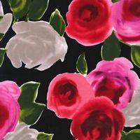 Michael Miller On The Town Marilyn Red Rose Flowers on Black Cotton Fabric - FQ