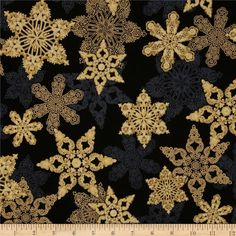 Holiday Flourish Metallic Star Antique Black from @fabricdotcom  Designed by Peggy Toole for Robert Kaufman, this cotton print fabric is perfect for quilting, apparel and home decor accents. Colors include black, cream and gold. Features gold metallic accents throughout.