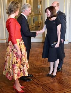 King Philippe of Belgium and Queen Mathilde of Belgium hosted the New Year's reception for the heads of diplomatic missions accredited to Belgium at the Royal Palace of Brussels on January 11, 2017 in Belgium.