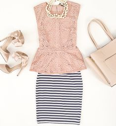 Lace peplum top, signature blush tote, blush bow heels pumps, Striped pencil skirt, triple strand faux pearl necklace, Summer work outfit, girly outfits, petite fashion - click the photo for outfit details!