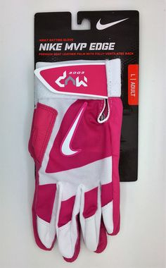 NIKE MVP EDGE PINK ADULT UNISEX BATTING GLOVES PAIR  (ADULT LARGE) -- NEW #Nike