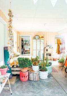 Bright + colorful modern patio