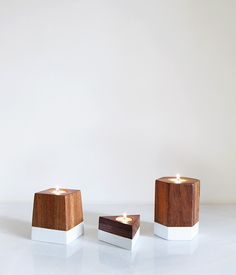 Image of Dipped Geometric Candle Holder Set