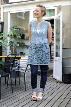 Schoolhouse tunic, by Sew Liberated, teal lace