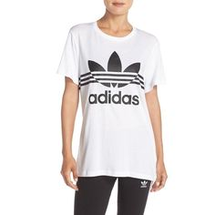 adidas Originals 'Inked' Boyfriend Tee ($30) ❤ liked on Polyvore featuring tops, t-shirts, white, white crew t shirt, short sleeve tee, long tee, long t shirts and striped tee