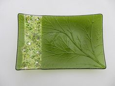 Curved Leaf Plate by 2dogsglass on Etsy,