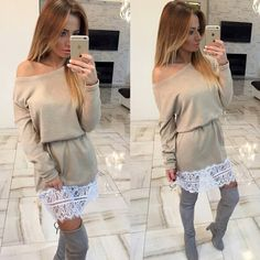 2016 New Fashion Autumn Winter Women Dress Casual Dress Long Sleeve Spliced Lace Dresses Plus Size